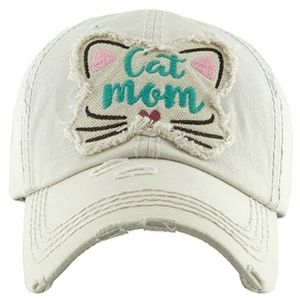 Cat Mom Hat Baseball Cap Distressed Embroidered